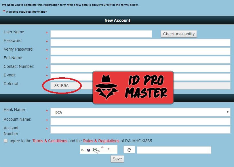 Daftar ID Pro atau ID Master di Rajahoki365