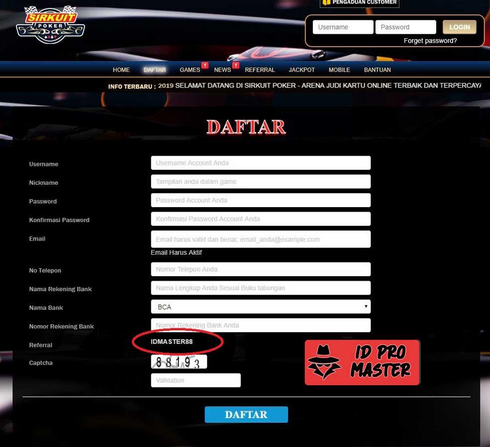 Daftar ID Pro atau ID Master di Sirkuit Poker